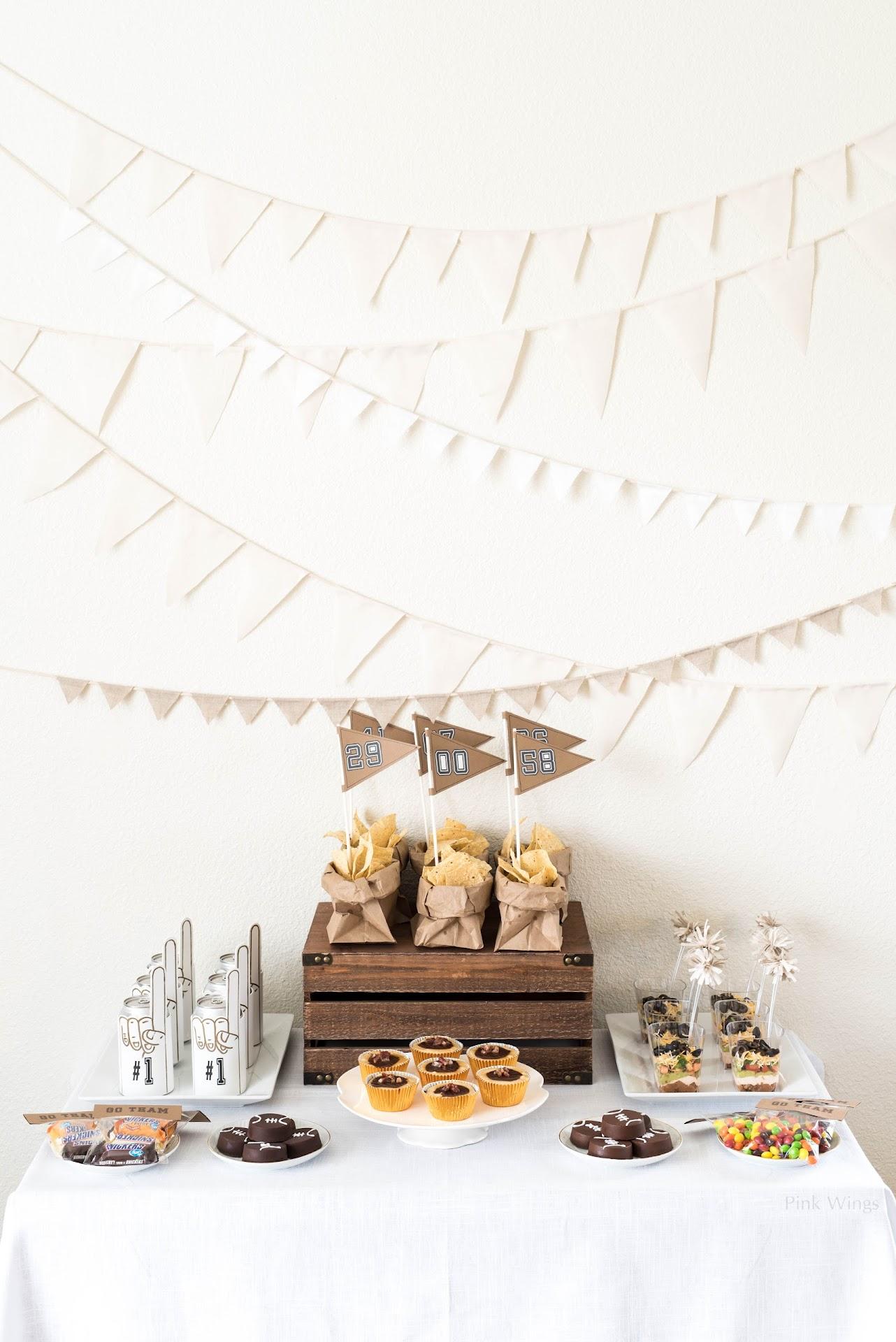 football party, birthday, tailgating, party food ideas, man food, man party, sports party, vintage, kraft burlap white theme, brown white,