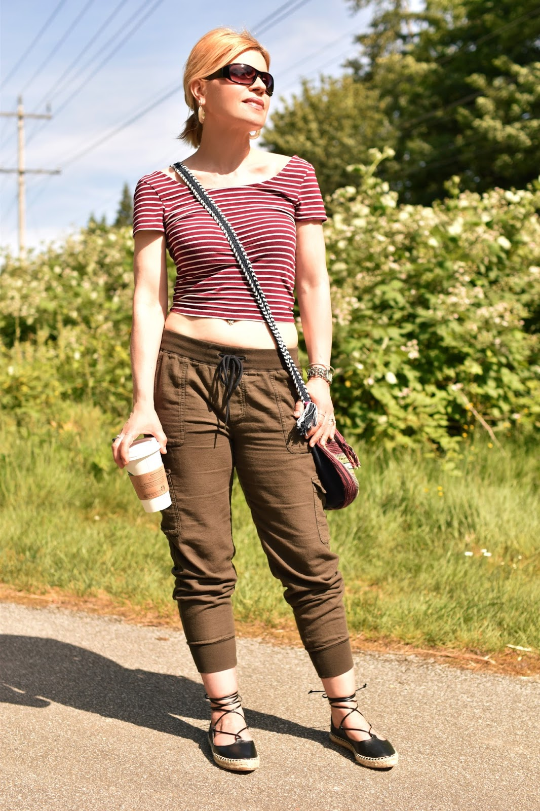 styling a striped cropped tee with slouchy cargos and Zara lace-up flats