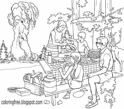 5TH Grade Yellowstone scene picnic coloring pages big American park kids drawing old faithful geyser