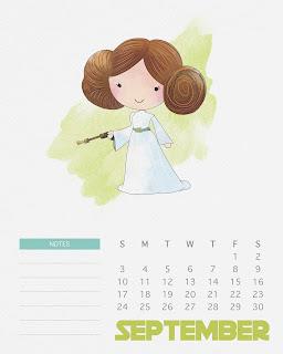 Calendario 2017 de  Star Wars para Imprimir Gratis  Septiembre.