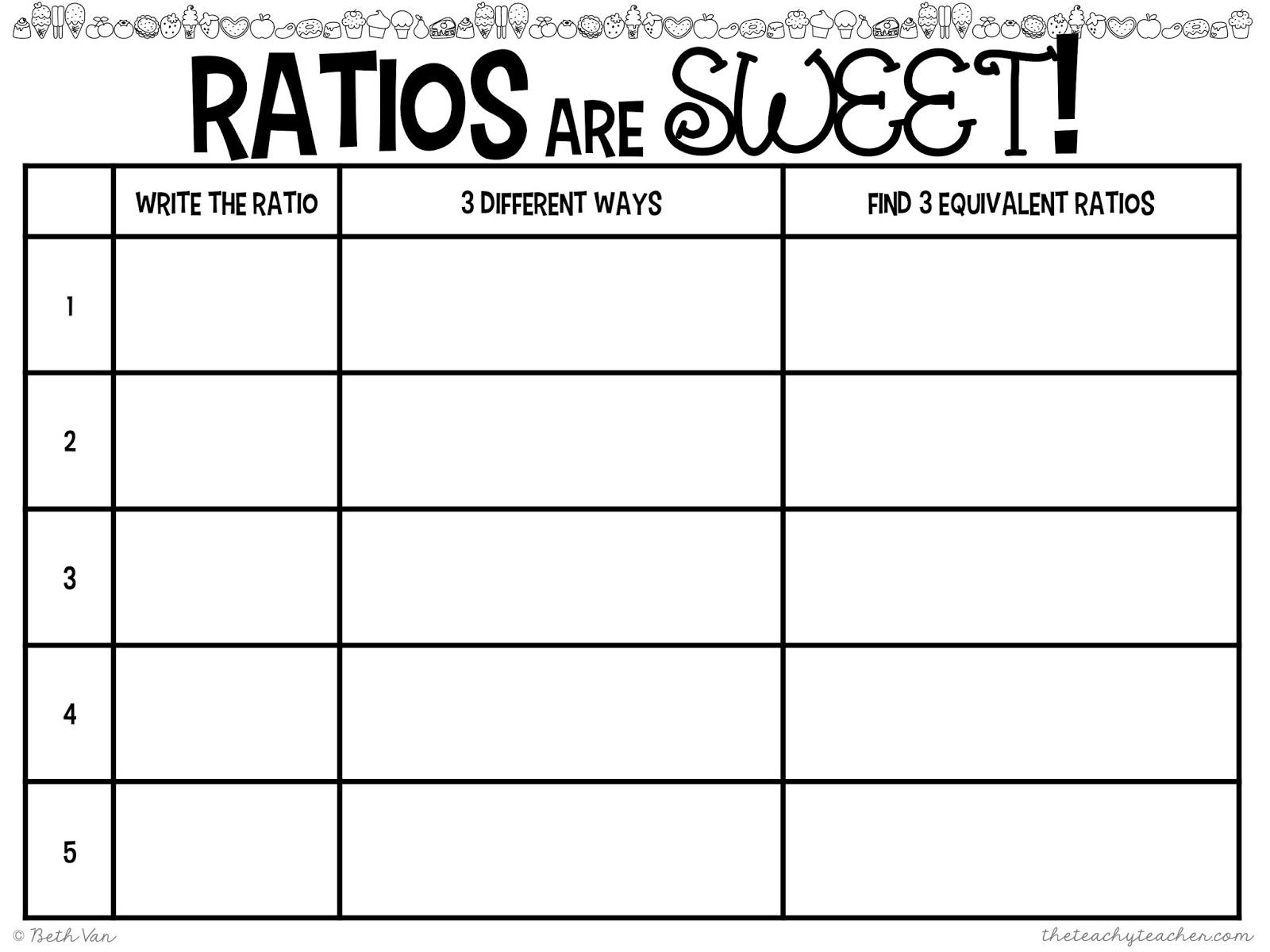Tape Diagram Ratios Worksheet