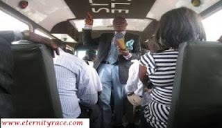 pastor preaching inside public bus