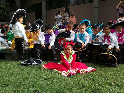 Kids Dressed Up in Traditional Mexican Dance Costumes
