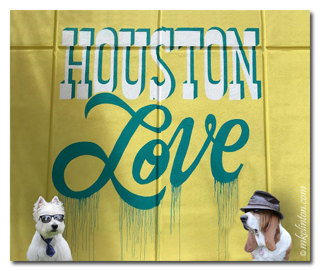 Houston Love mural with two dogs