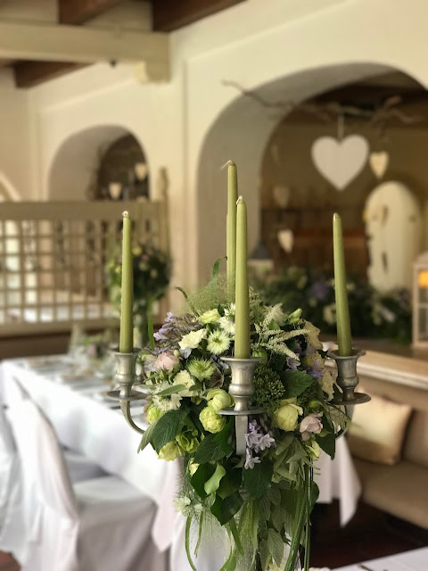 wedding dinner at the lake house, Table decor with Hessians, wood, grey, brown, green, lilac, Wedding abroad, Mountain wedding lake-side at the Riessersee Hotel Resort Bavaria, Germany, Garmisch-Partenkirchen