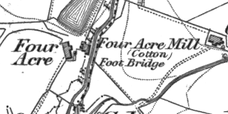 Four Acre Mill, OS map, 1848.