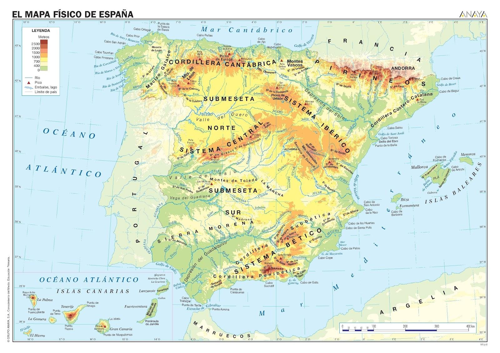 Mapa Relieve De España.El Lapicero El Relieve De Espana