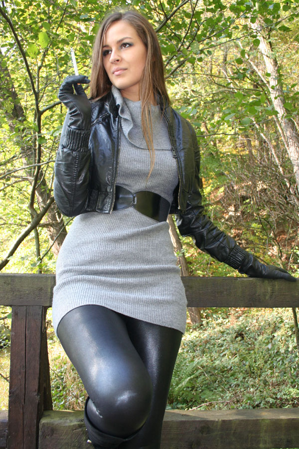 of girls in leather smoking porn