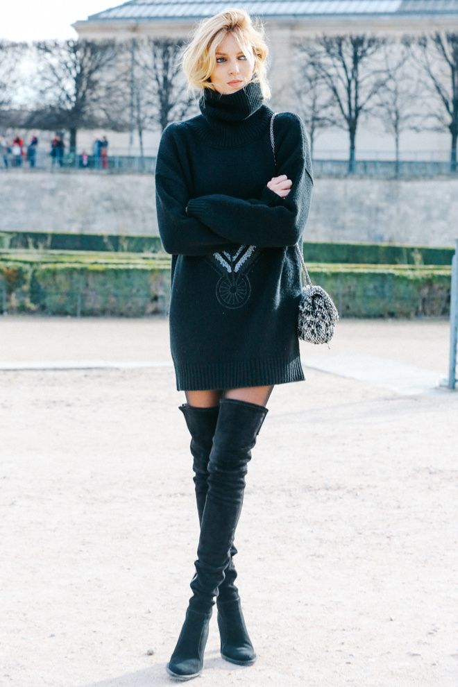 fall winter autumn fashion blogger inspiration black jumper dress knitwear suede thigh high boots chanel bag