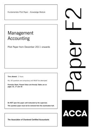 Managment Accounting MCQs Answers PDF Book