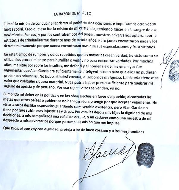 Carta de despedida Alan García