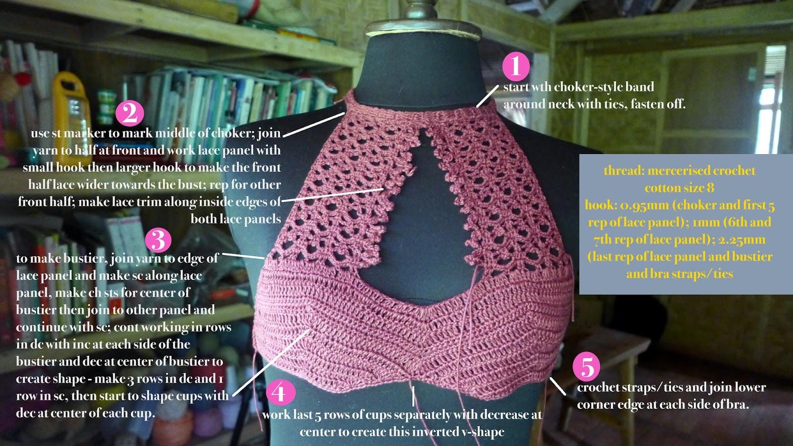 Crochetology by Fatima: Lace Halter Bra free pattern