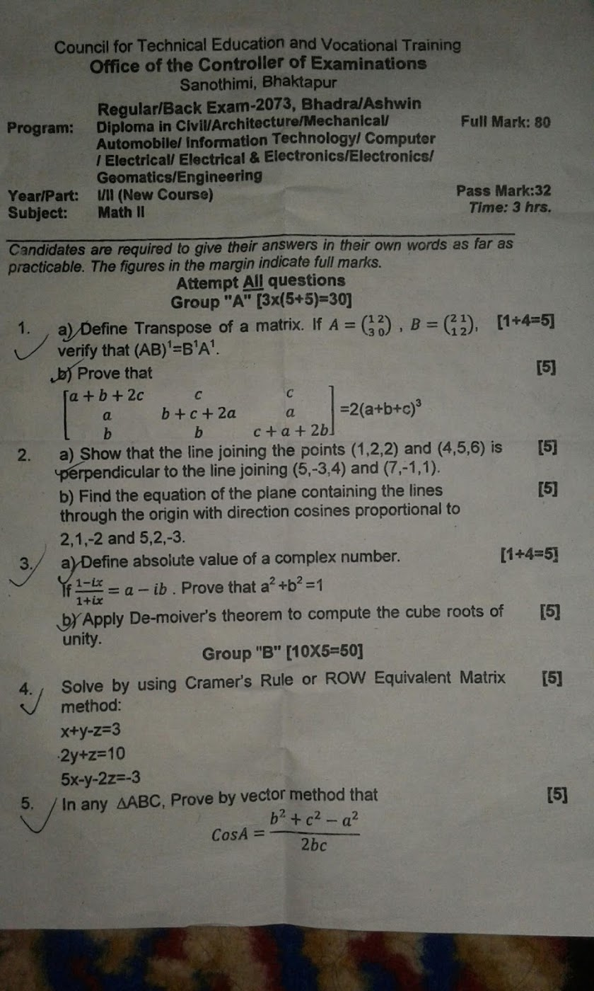 CTEVT | Engineering Math-II | Question Paper 2073 | Diploma | 1st Year/2nd Part
