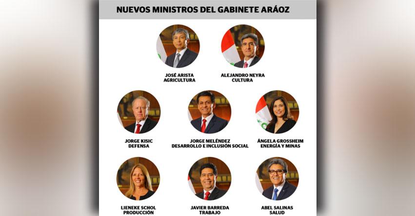 Nuevos Ministros juramentaron hoy Martes 9 Enero 2018 (Gabinete Aráoz) PPK