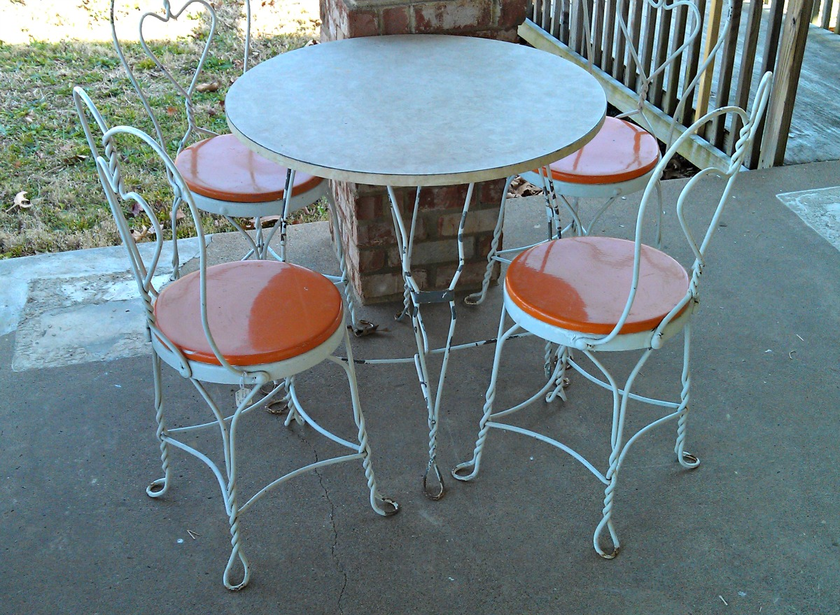 Vintage Ice Cream Parlor Table Chair Patio Set