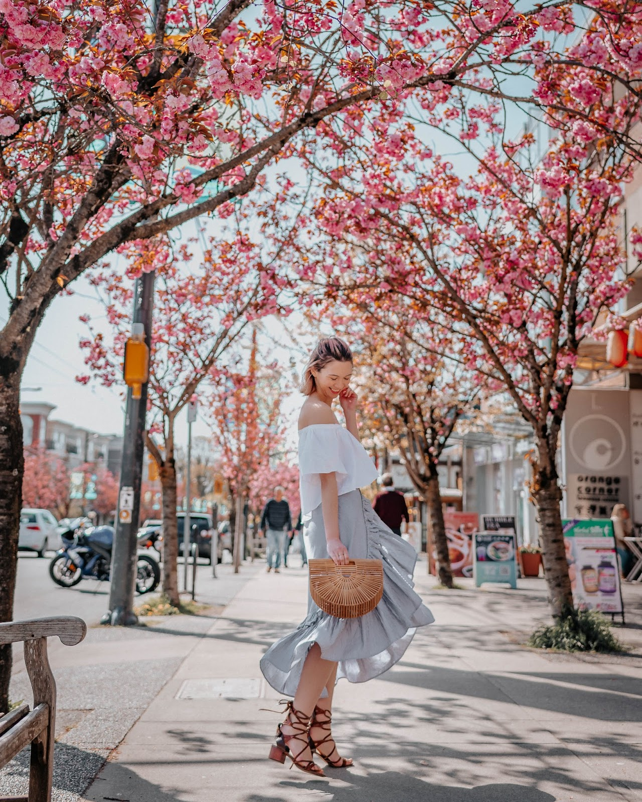 cherry blossoms, vancouver, best cherry blossoms, vancity, bershka, nordstrom, bp nordstrom, cult gaia, ark purse, chriselle x joa, fashion blogger, style blogger, canadian blogger, wide legged denim, mom jeans, off the shoulder top