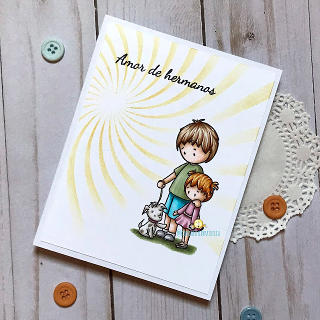 card with siblings with puppy clear stamp by Kinda Cute by Patricia Alvarez