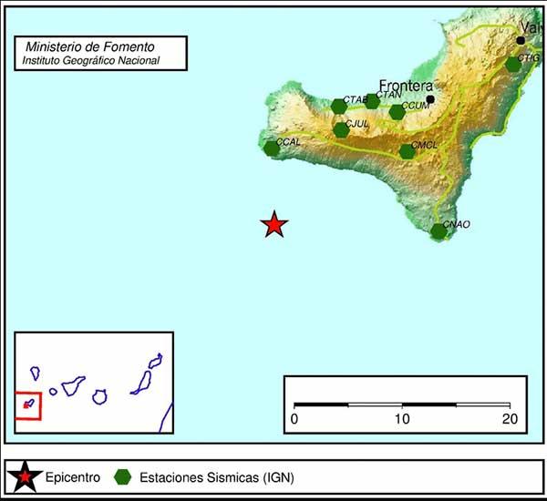 Terremoto SW de El Pinar, El Hierro, martes 13 marzo
