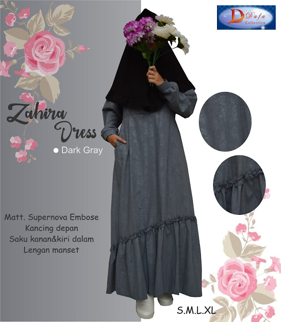 Gamis zahira dress baloteli warna gray kancing depan