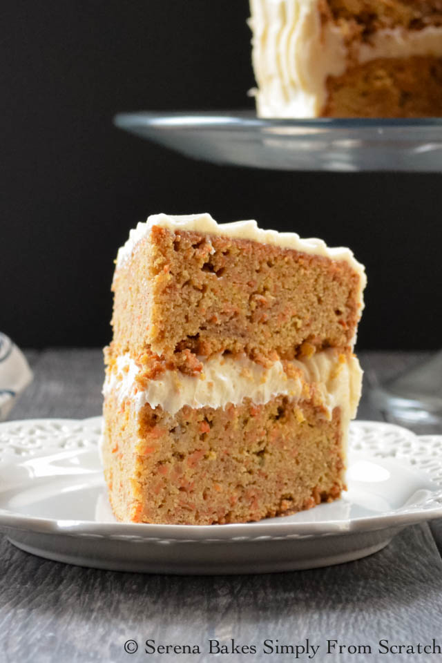 Spicy Carrot Cake covered in Cream Cheese Frosting Recipe.