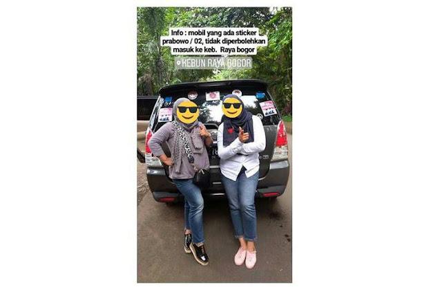 Mobil Berstiker Prabowo Dilarang Masuk Kebun Raya Bogor