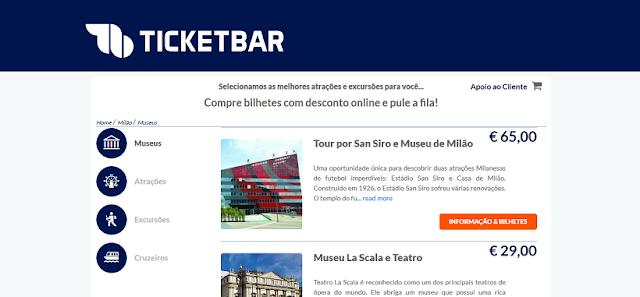 Ticketbar para ingressos em Milão e em toda a Itália