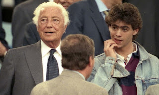 A young Andrea Agnelli pictured at the 1996 Champions League final - the last Juventus won - with his uncle, Gianni