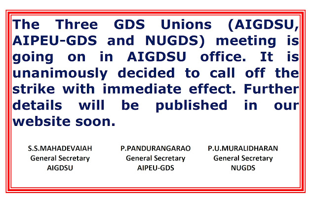 GDS UNIONS INDEFINITE STRIKES CALLED OFF TODAY.