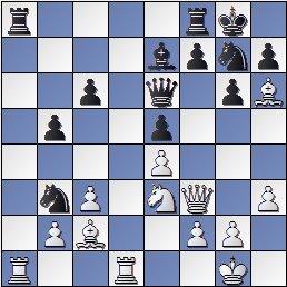 Posición partida de ajedrez Medina-Rossetto 1946, posición después de 20… Cb3?