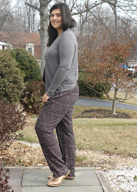 A pair of rayon challis made using the Calyer Pants sewing pattern from French Navy Now