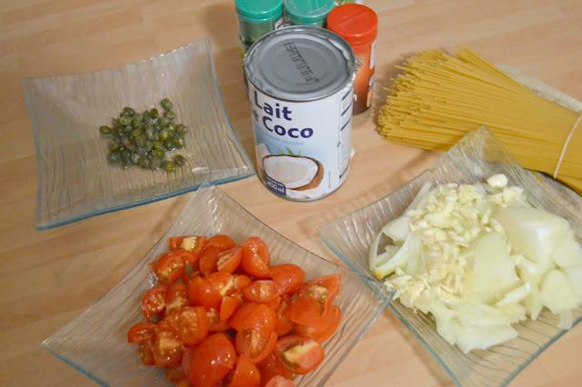 Spaghettis, lait de coco, tomate cerise, végétarien
