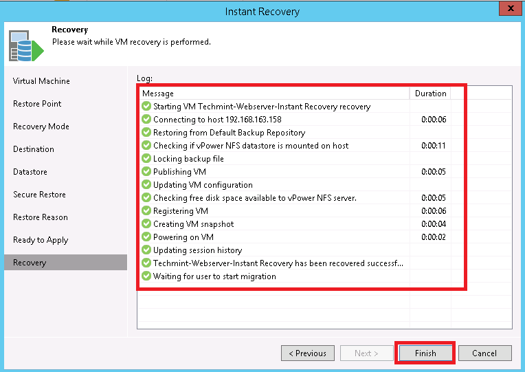 How to create instant VM from Backup in Veeam Backup and replication