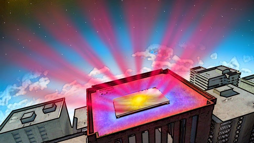 In this illustration, the reflective panel is coated with a material invented by Stanford engineers. They designed it to help cool buildings without air conditioning. The material works in two ways--It reflects incoming sunlight (yellow splotch) that would otherwise heat the building. And it sends heat from inside the structure directly into space as infrared radiation (reddish rays). The blue areas on an otherwise warm roof show the cooling effect. (Credit: Fan Lab, Stanford Engineering) Click to Enlarge.