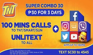 Talk N Text  SC30 Super Combo 30 – 3 Days Unlitext to All + Free FB