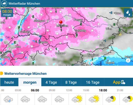 Das Münchenwetter am Mittwoch 17.01.2018