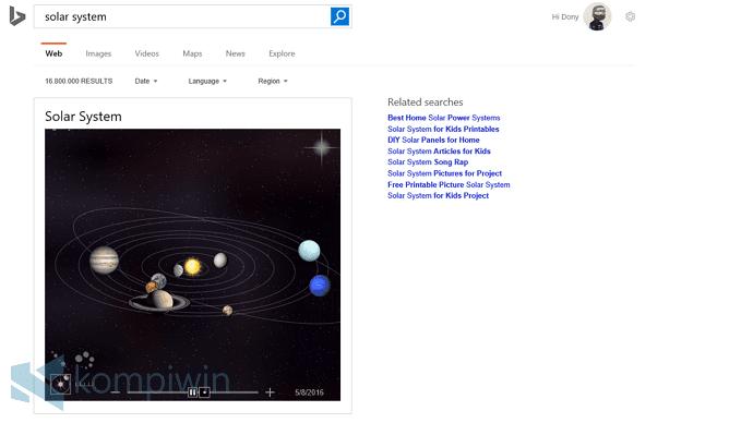 bing solar system keyword