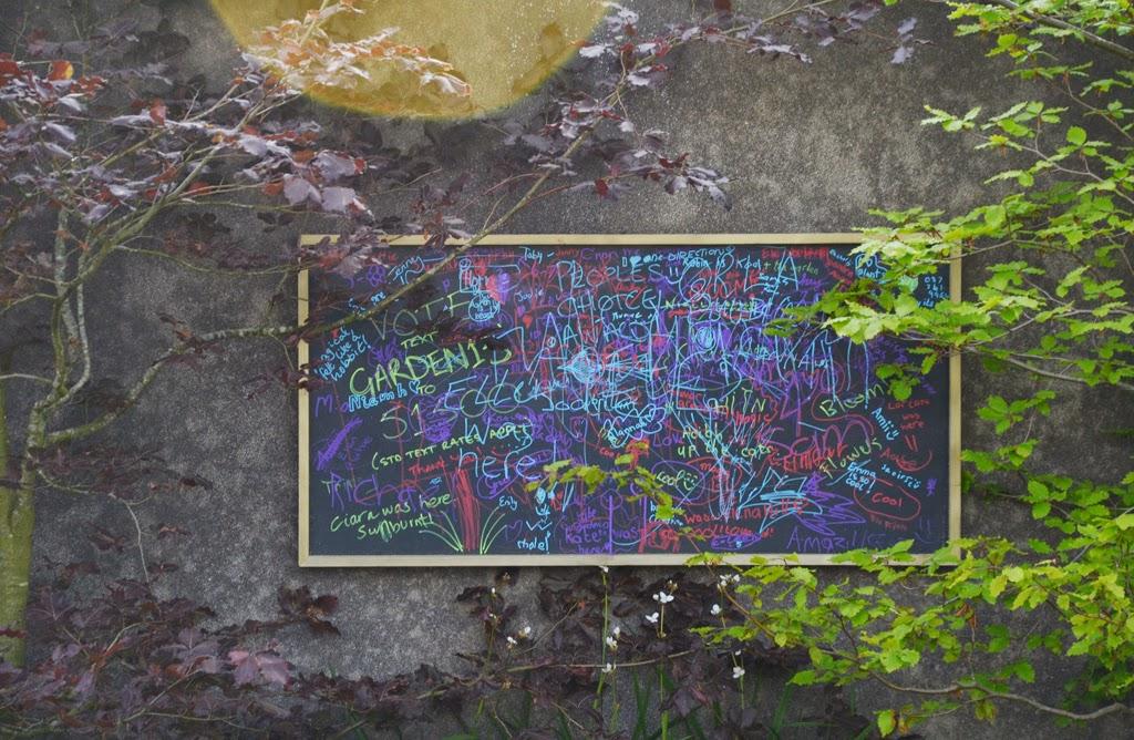 tablica rysunkowa w ogrodzie