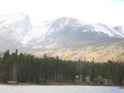 Rocky Mountains, colored leaves and snow