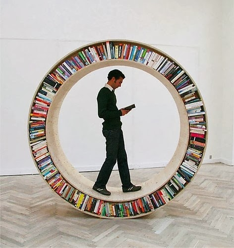 Man reading in book circle