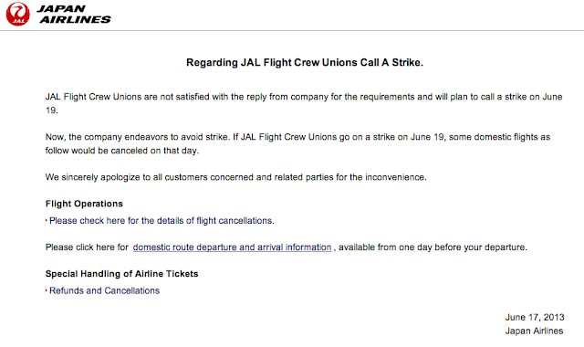 JAL posts a notice on its website informing passengers of the planned strike.
