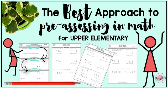 Is there a better way to pre-assess students in math class than what we have traditionally done? Check out 4 ways we pre-assess in math and what I believe is the best way to pre-assess my 4th grade and 5th grade students in math. After reading the pros and cons for these 4 kinds of preassessments, you'll be ready to implement your pre-assessments with more strategy and less data-overwhelm! You won't want to miss MY FAVORITE way of pre-assessing 4th grade and 5th grade students in math!!