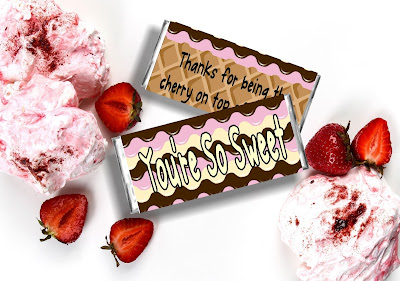 These candy bar wrappers are so cute! The ice cream cone design makes these party favor printables so much fun and perfect for an Ice Cream party or a great way to say thank you to someone in your life this summer.