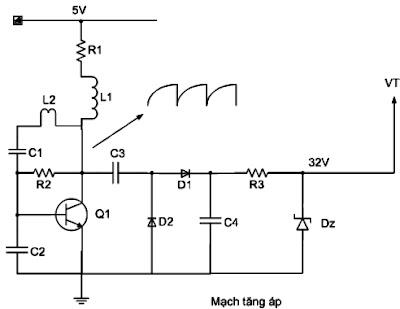 Hình 8 - Mạch tăng áp tạo ra điện áp 32V cấp cho mạch VT của bộ kênh.