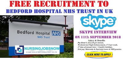 Free Recruitment to Bedford Hospital NHS Trust In UK - Interview on 11th September 2018