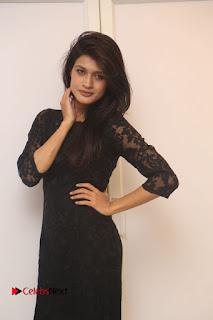 Kimaya in short black dress at Kotha Kothaga Unnadi Press Meet