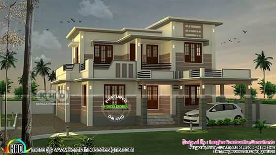 1688 square feet, 4 bedroom flat roof house