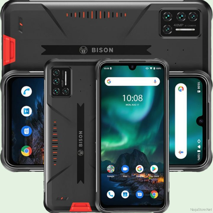 Umidigi Bison Rugged Android Phone - Specs: IP68K Waterproof, Sony AI Cams, 6.3Inch Screen, 5000mAh Battery, 128GB/6GB Memory, 8Cortex, 4G..