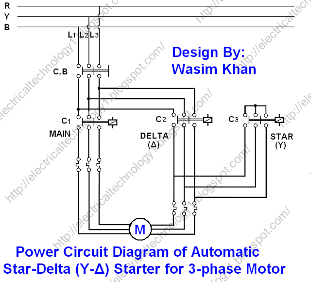 3 phase ammeter selector switch wiring diagram 240v electric heat electrical technology: the star-delta (y-Δ) 3-phase motor starting method by automatic star ...