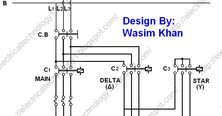 y delta starter circuit diagram