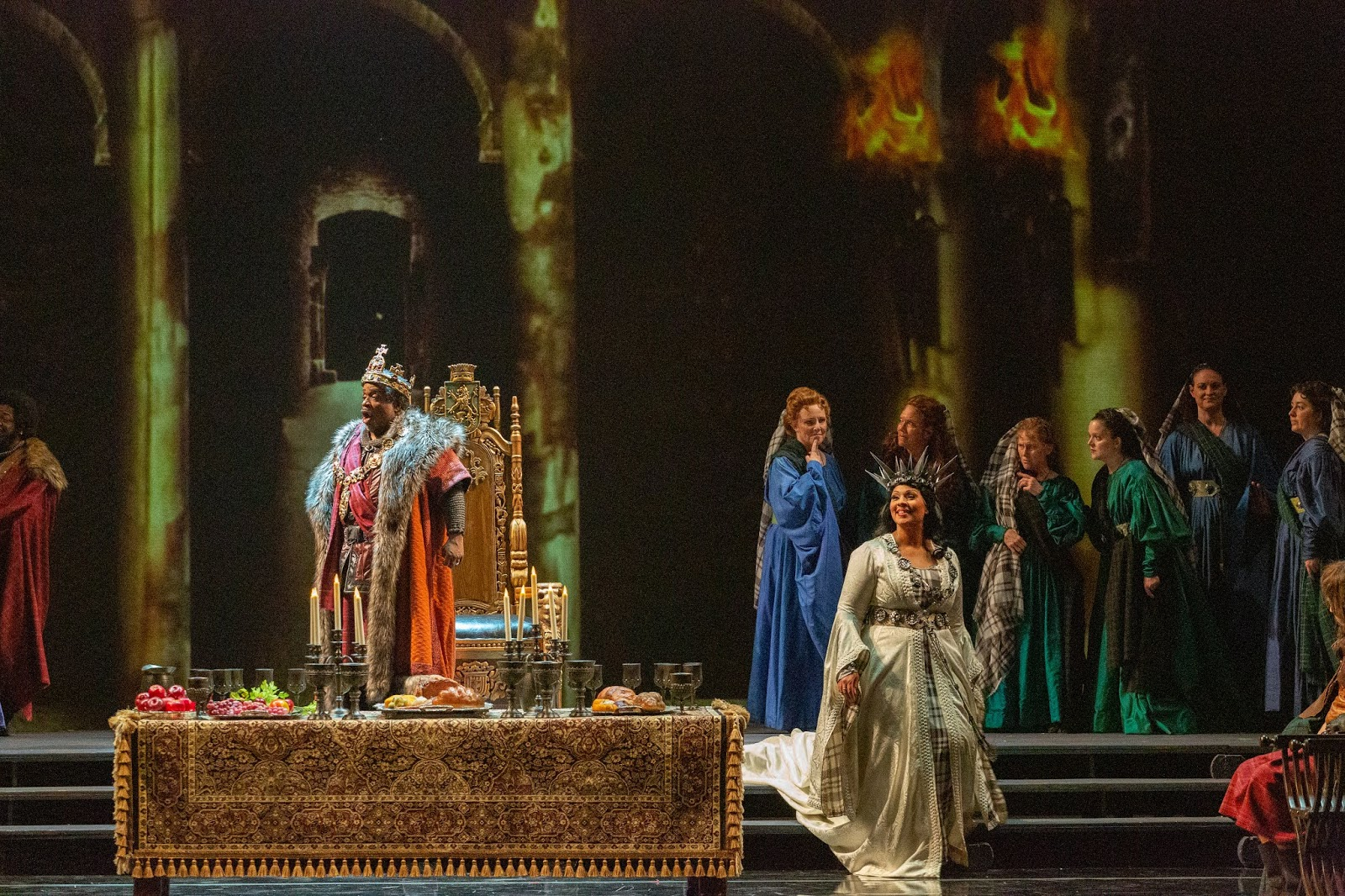 IN REVIEW: baritone MARK RUCKER as Macbeth (left) and soprano OTHALIE GRAHAM as Lady Macbeth (right) in Opera Carolina's November 2019 production of Giuseppe Verdi's MACBETH [Photograph by Mitchell Kearney, © by Opera Carolina]